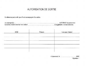 AUTORISATION-SORTIE